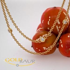 Kette, Brillant-Kette, 750/Gelbgold, Handarbeit,
