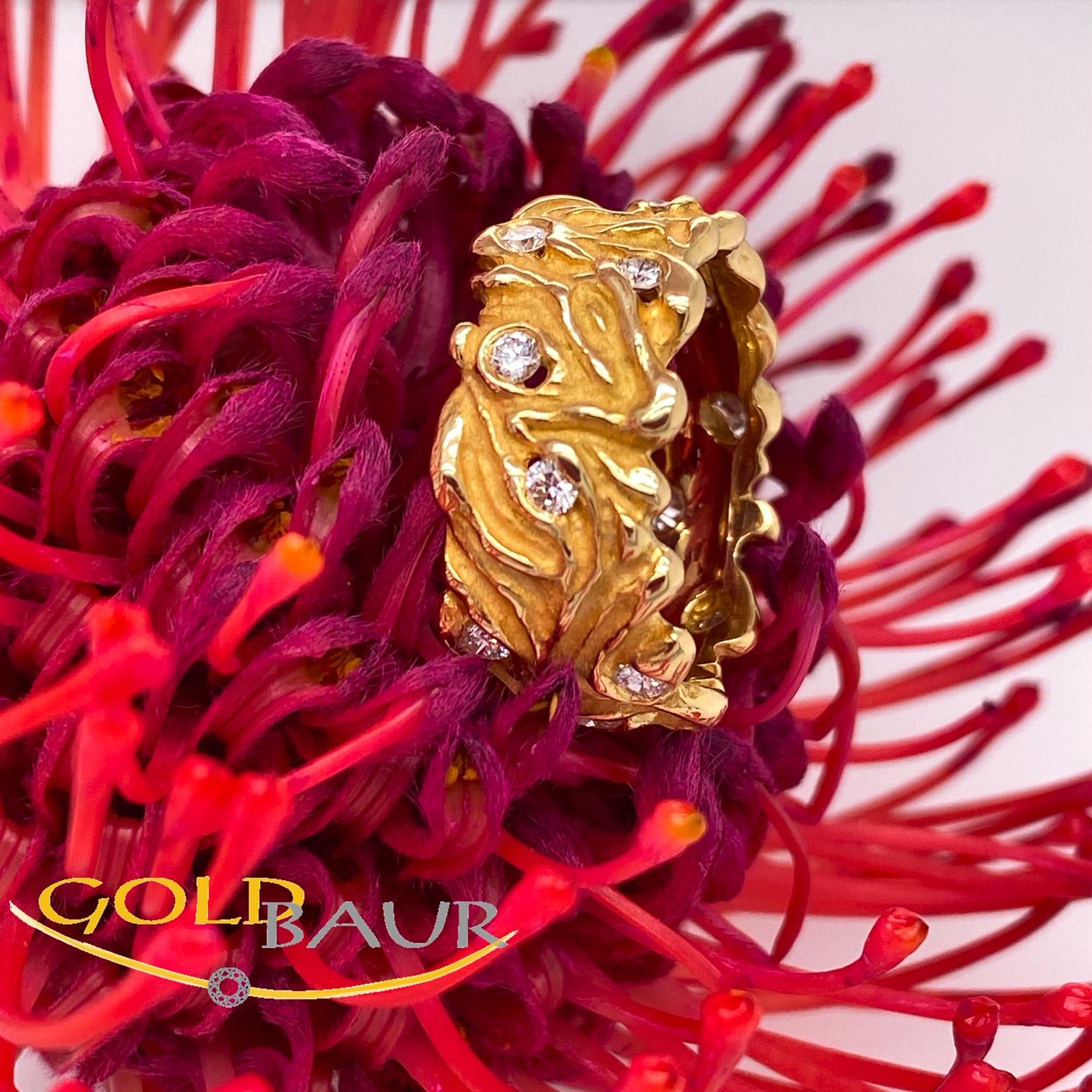 Ring, Brillant-Ring, 750/Gelbgold, Handarbeit