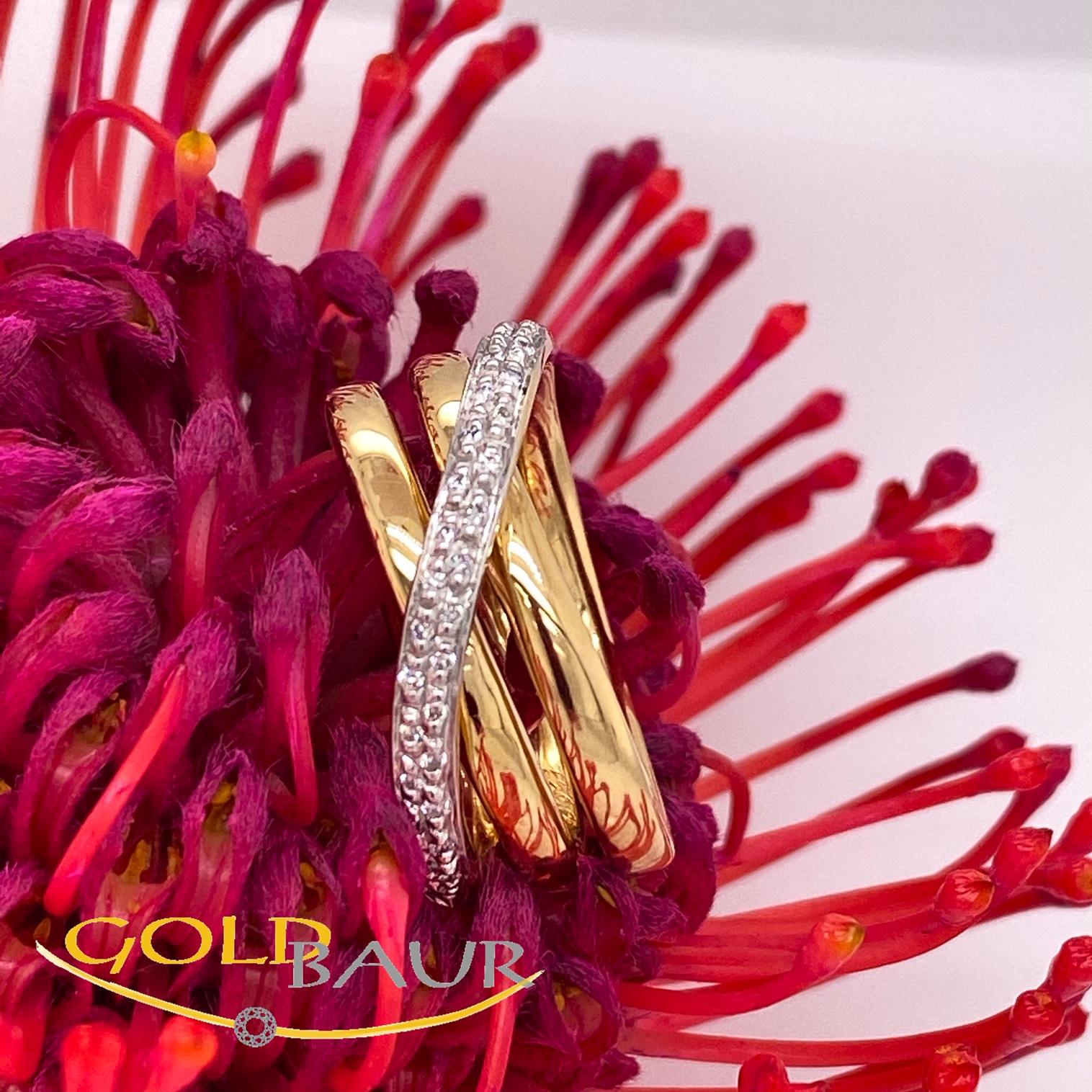Ring, Brillant-Ring, 750/Gelbgold,Handarbeit,