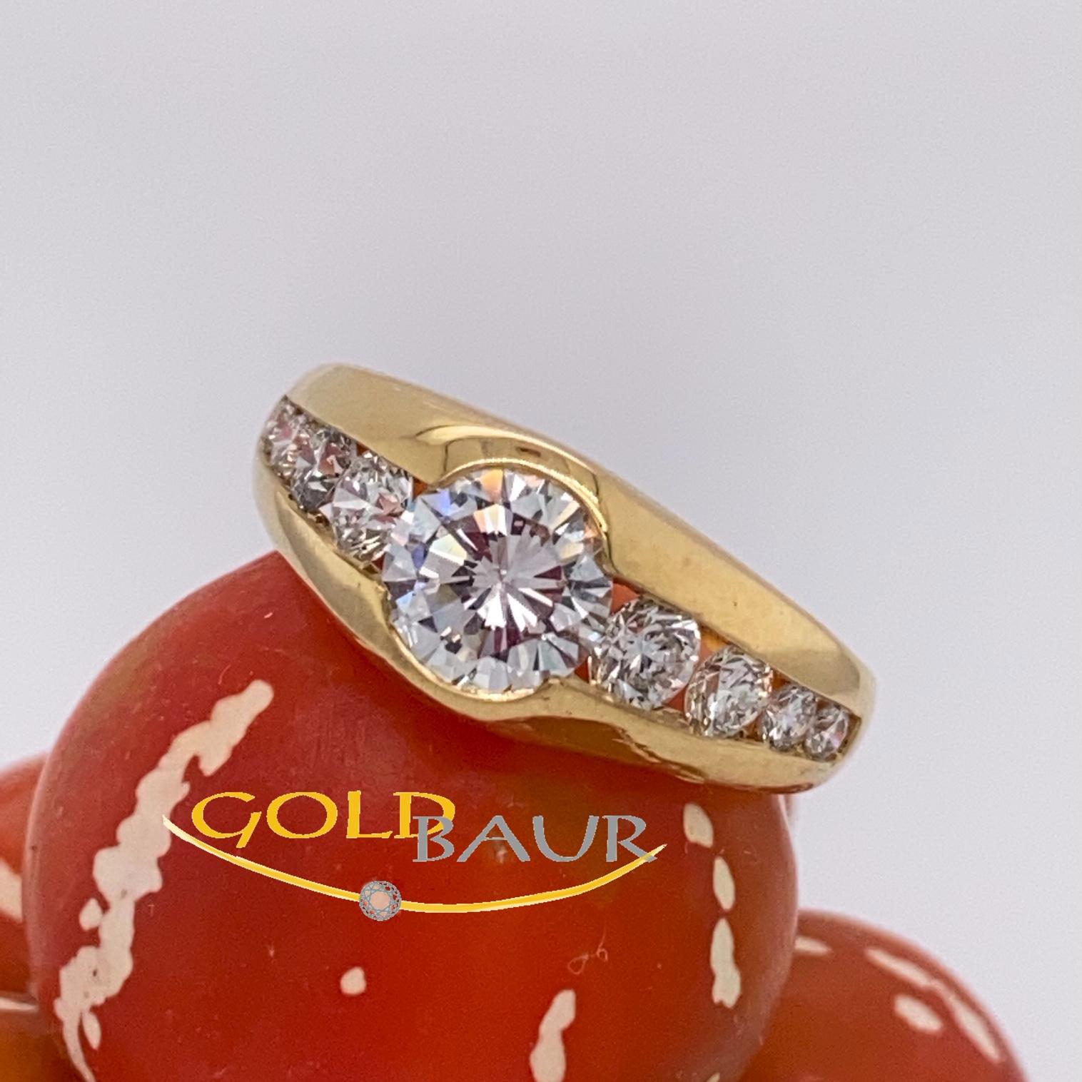 Einkaräter,Brillant Ring, Ring, 750/Gelbgold, Handarbeit