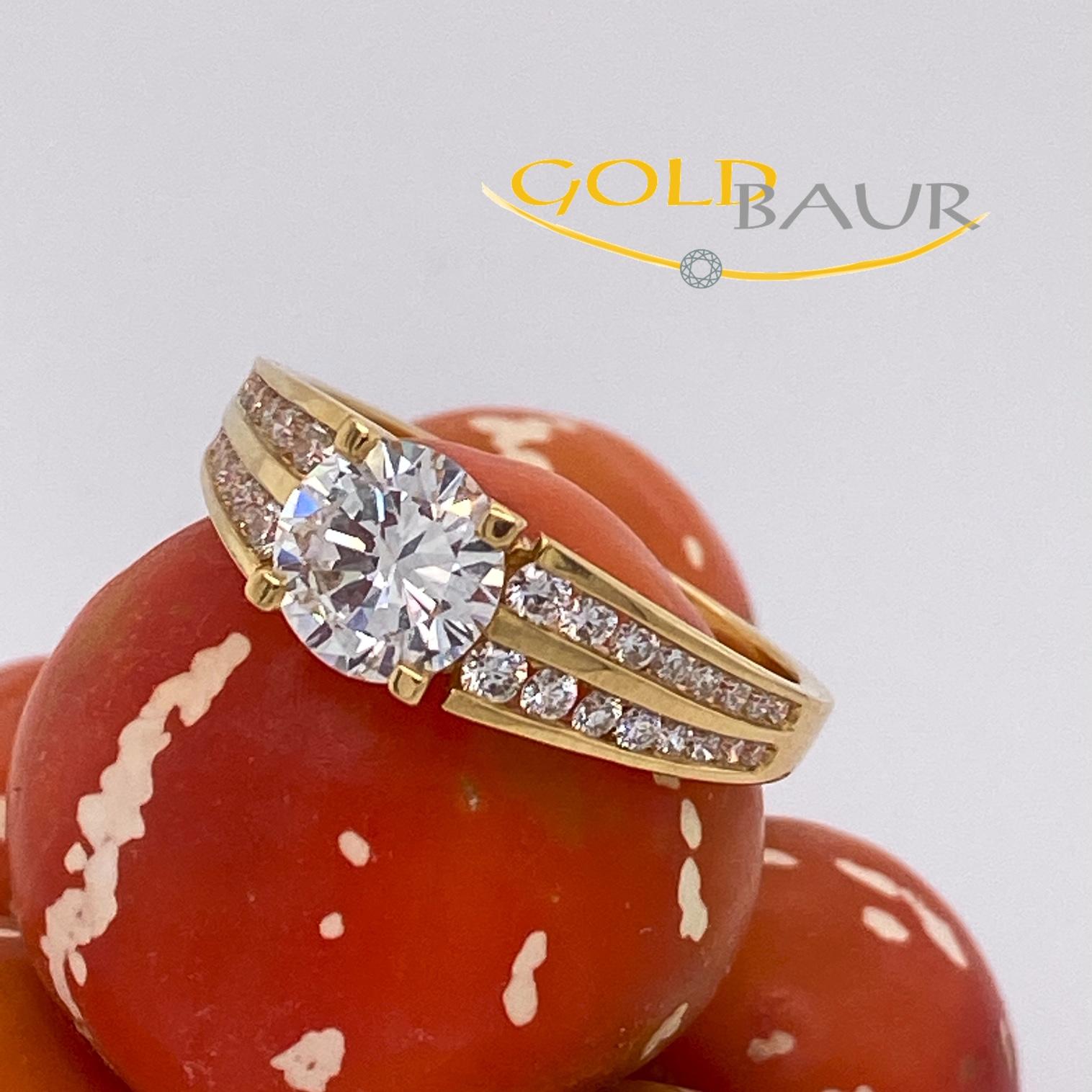 Ring ,Einkaräter,Brillant-Ring, 750/Gelbgold, Handarbeit