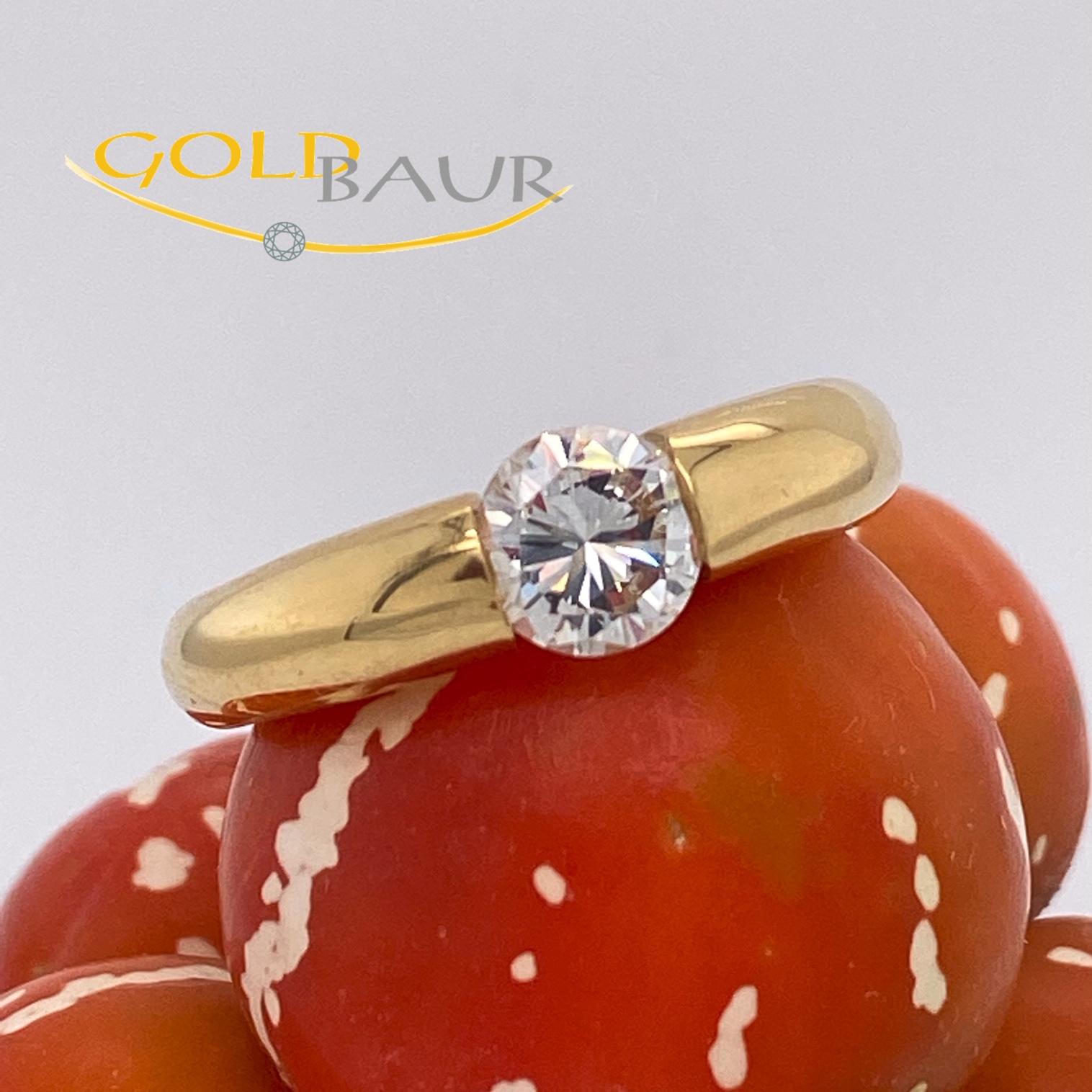 Einkaräter, Solitär, Brillant-Ring, Ring, 750/Gelbgold, Handarbeit