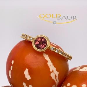 Ring, Turmalin-Ring, Brillant, 750/Gelbgold, Handarbeit