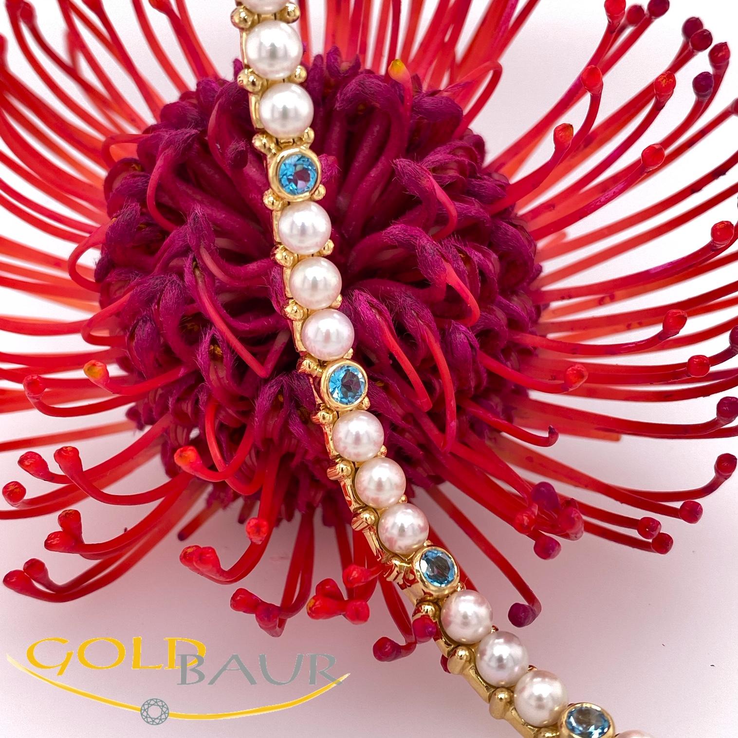 Armband, Perl-Armband, Edelsteine,beweglich, 750/Gelbgold, Handarbeit,