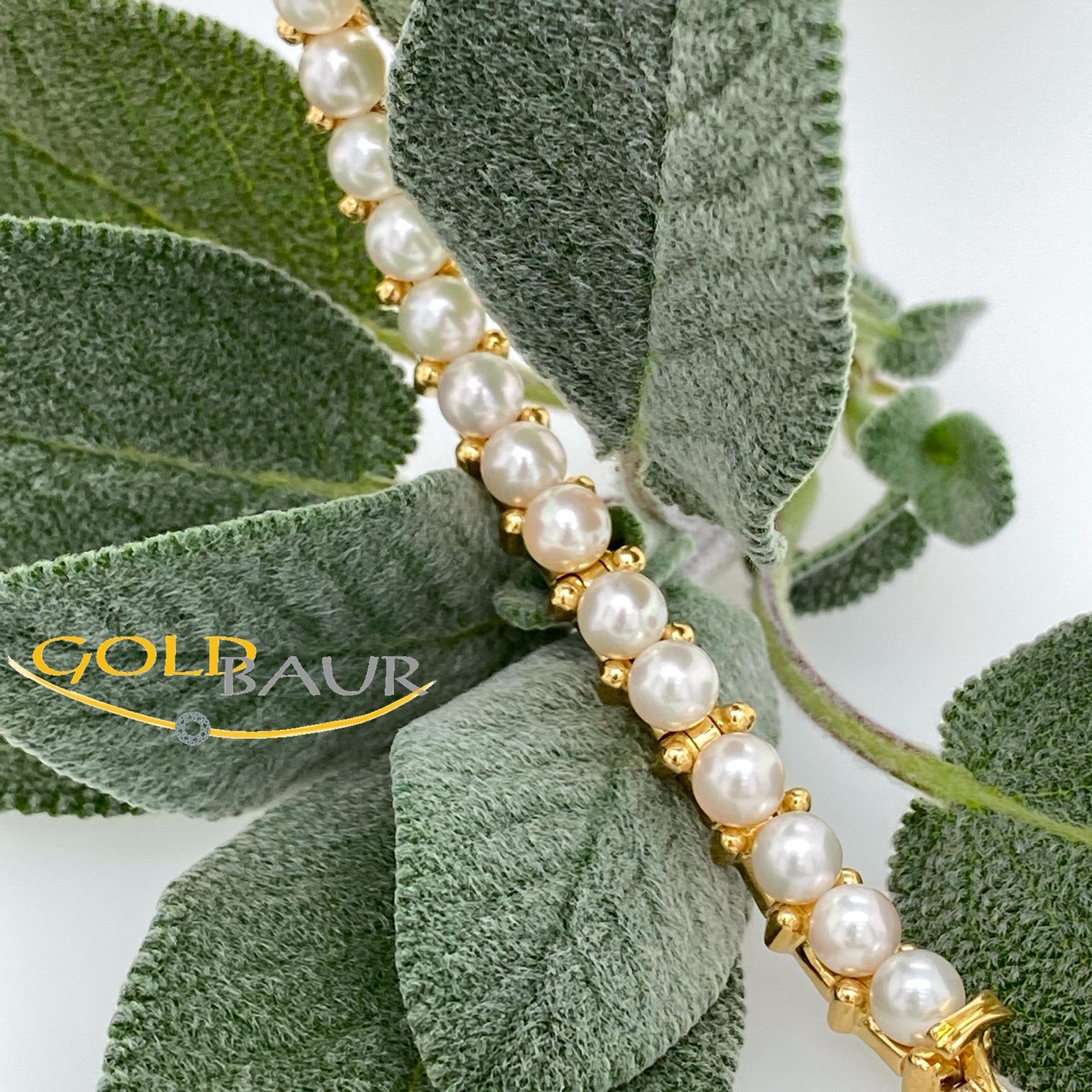 Armband, Perl-Armband,Perle, beweglich, 750/Gelbgold, Handarbeit