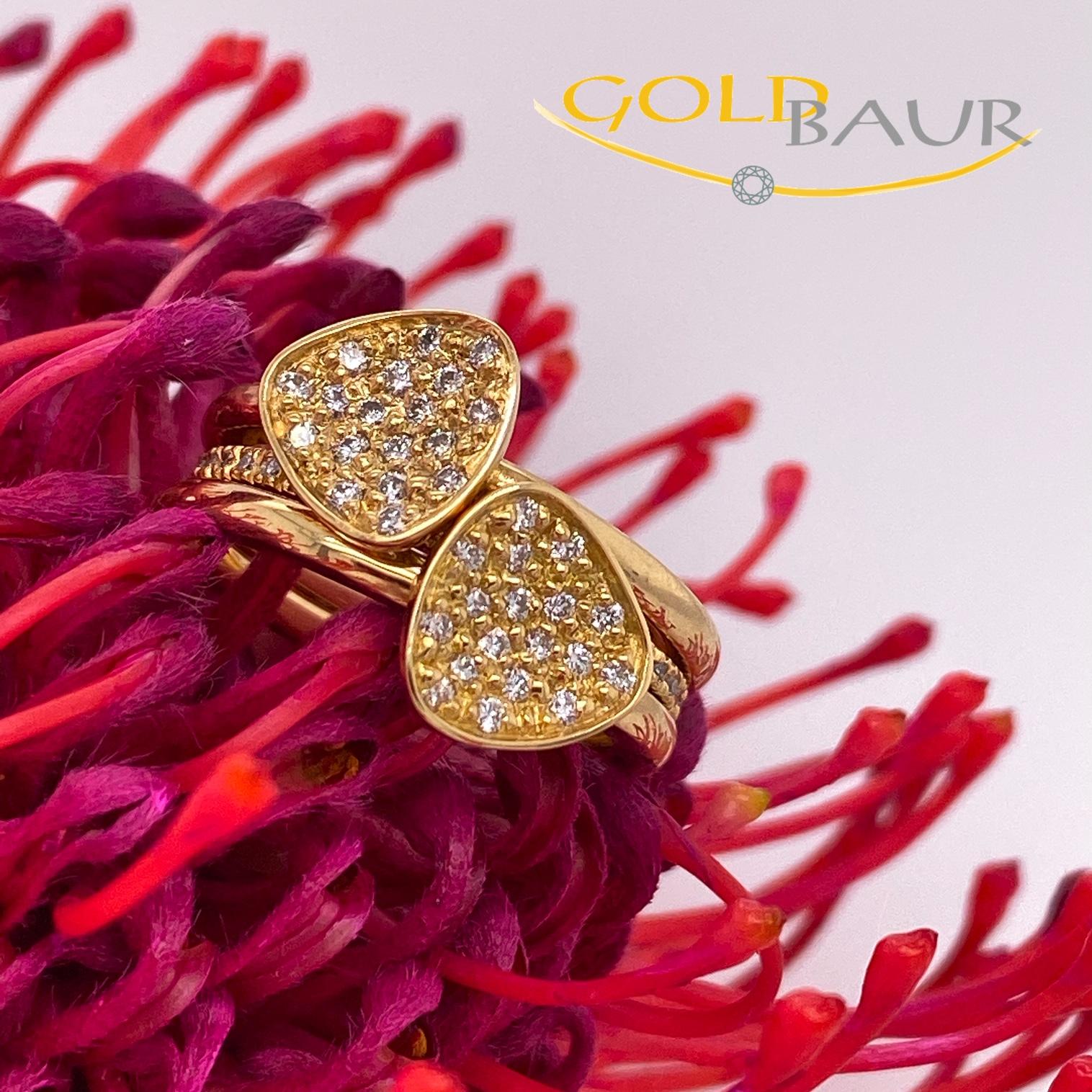 Ring, Brillant-Ring, Memuar-Ring, 750/Gelbgold, Handarbeit, Gold