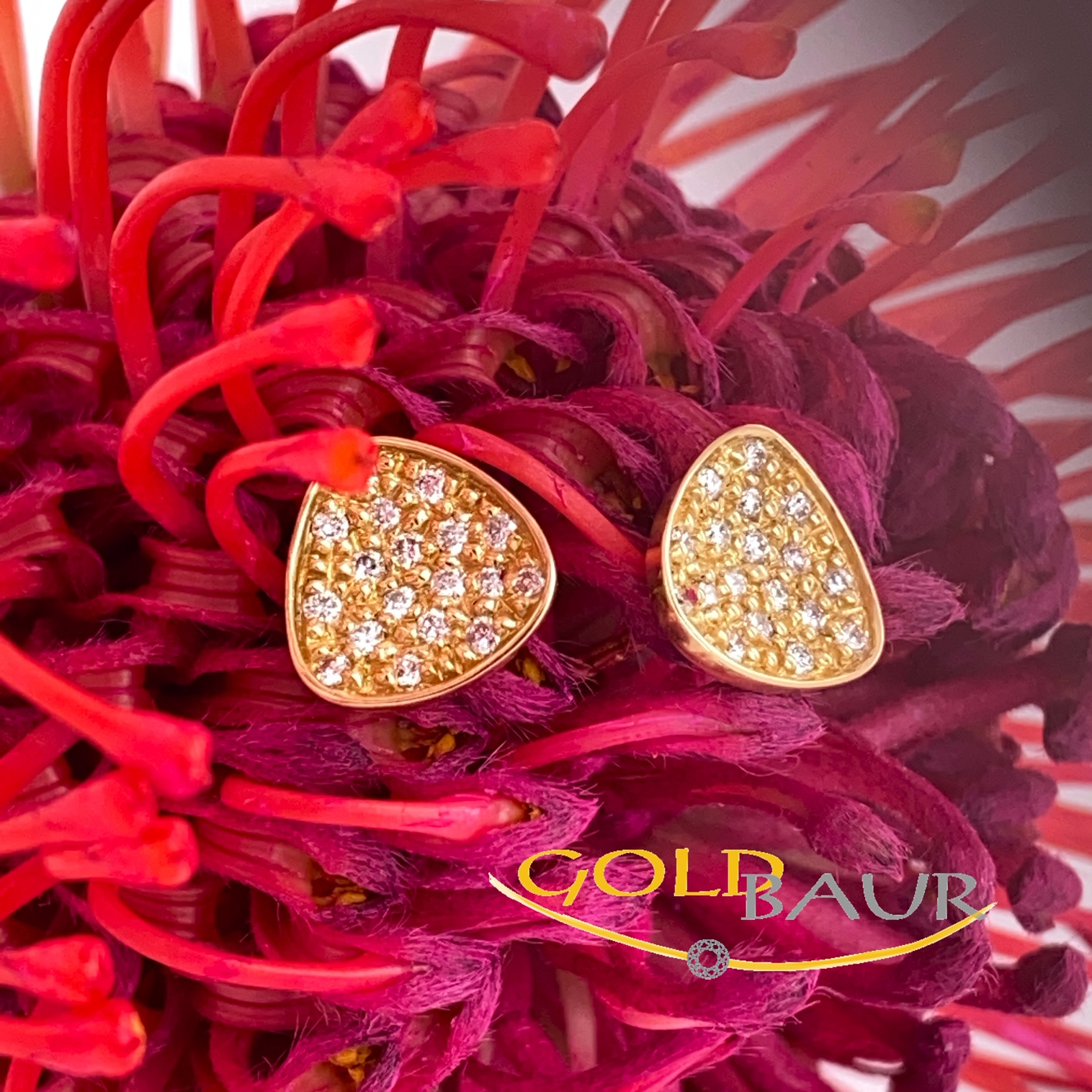 Ohrstecher, Brillant-Stecker, Ohrring, 750/Gelbgold, Handarbeit,Gold