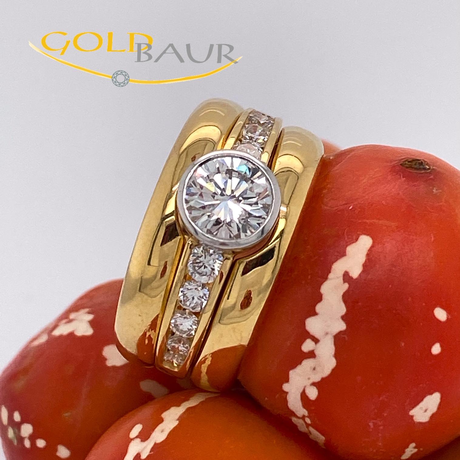 Ring Einkaräter, Brillant-Ring, auswechselbar,750/Gelbgold, Handarbeit, Gold