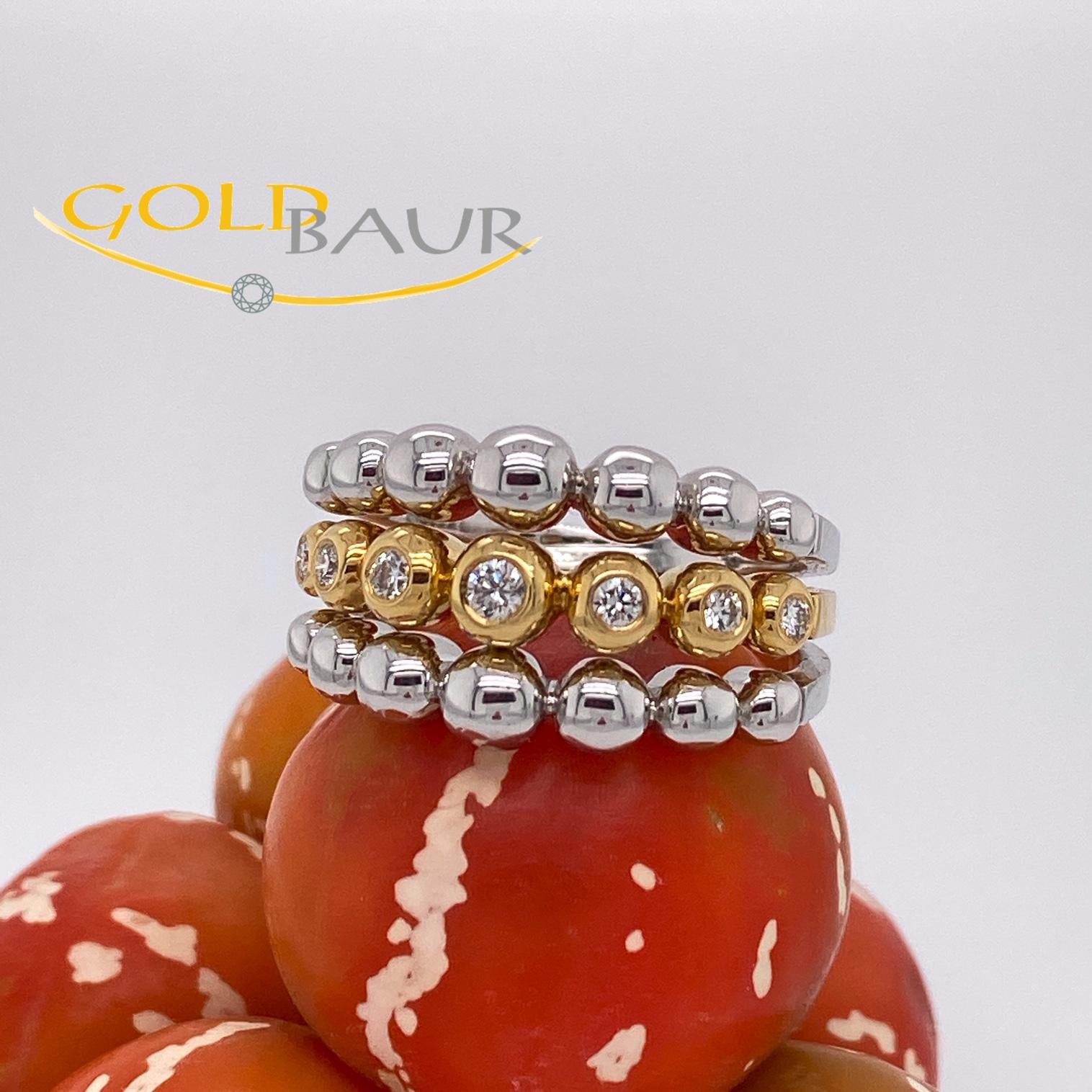 Ring, Brillant-Ring, 750/Weiß & Gelbgold, Handarbeit