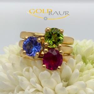Ring Edelstein-Ringe, Peridot, Tansanit, Turmalin, 750/Gelbgold, Handarbeit, Gold
