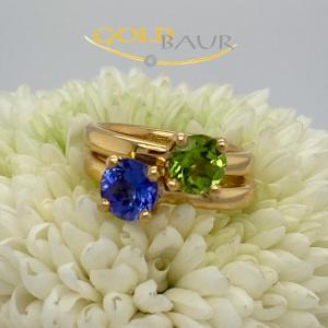 Ring, Edelsteinring, Tansanit, Peridot, 750/Gelbgold, Handarbeit