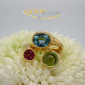 Ring, Edelstein-Ring, Edeltopas, Turmalin, Peridot, 750/Gelbgold, Handarbeit