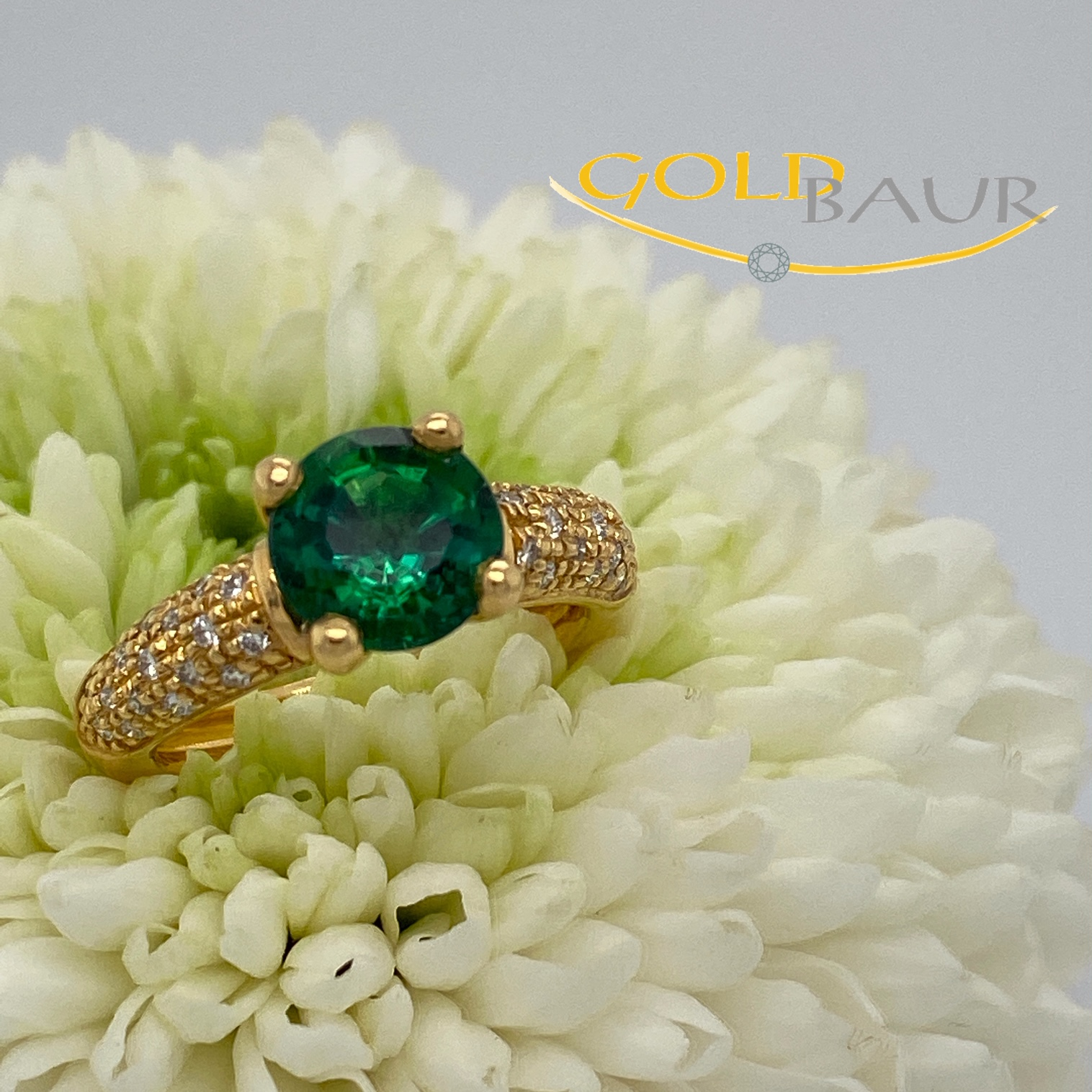 Ring, Turmalin-Ring, Brillant, Edelstein, 750/Gelbgold, Handarbeit