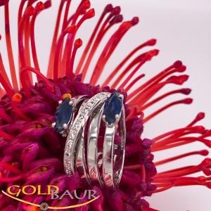 Ring, Brillant-Ring, Safir, 750/Weißgold, Handarbeit,