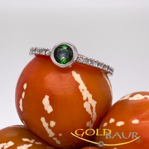 Ring, Turmalin-Ring, Brillant, 750/Weißgold Handarbeit