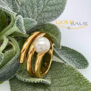 Ring, Perl-Ring, Perle, Safir,750/Gelbgold, Handarbeit, Gold