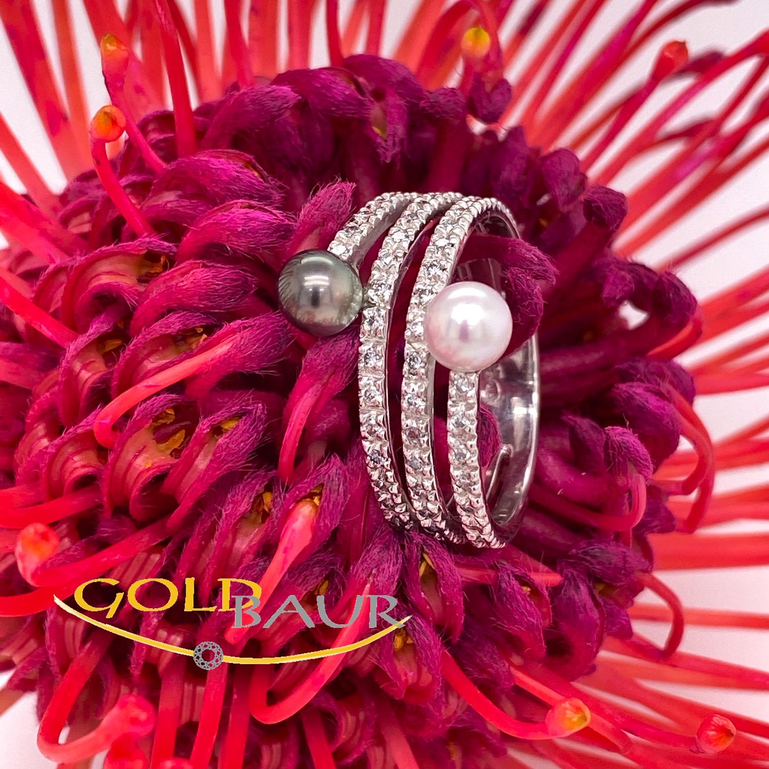 Ring, Brillant-Perl-Ring, 750/Weißgold, Handarbeit, Gold