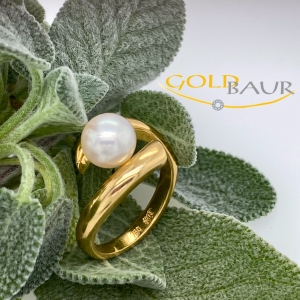Ring, Perl-Ring, Perle, 750/Gelbgold, Handarbeit