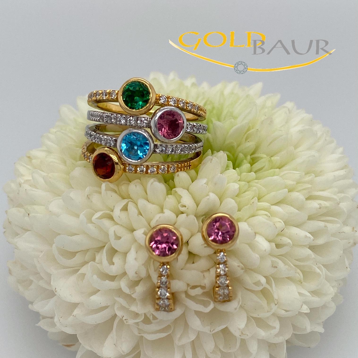 Ring, Edelstein-Ring, Brillant Turmalin, Edeltopas, Granat, Ohrstecker,Ohrring 750/Gelbgold, Handarbeit