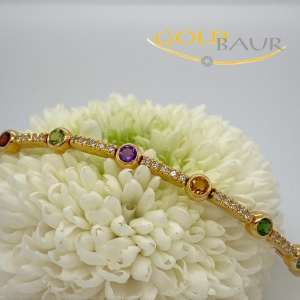 Armband, Brillant-Armband, Edelstein-Armband, beweglich, Peridot, Turmalin, Amethyst,Granat, 750/Gelbgold