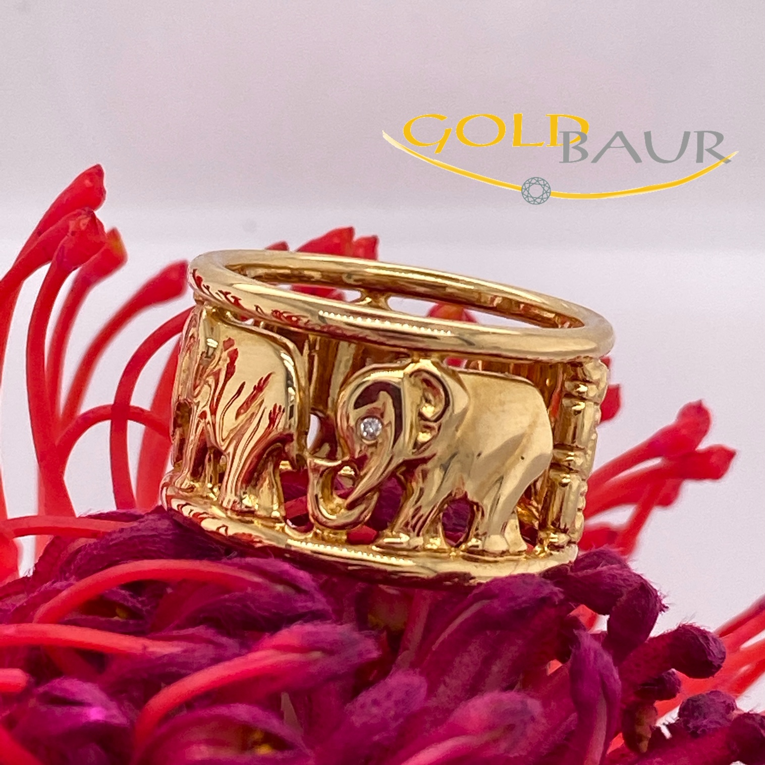 Ring, Brillant-Ring, Elefant, 750/Gelbgold, Handarbeit, Gold