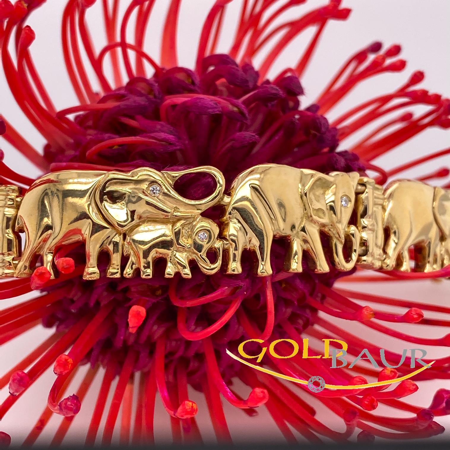 Armband, Brillant-Armband, Elefant, 750/Gelbgold, Handarbeit, Gold