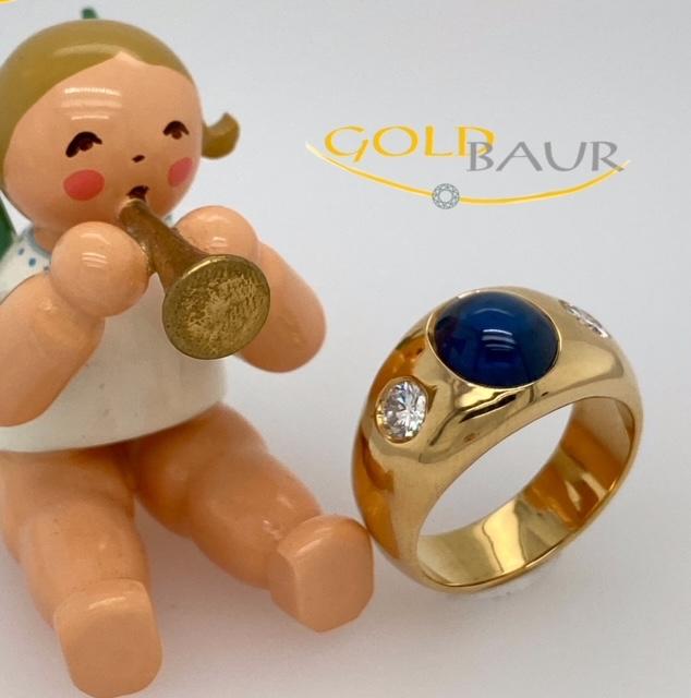 Safir-Ring, Brilanten, Bandring, 750/Gelbgold, Handarbeit