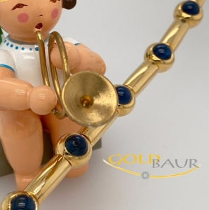 Armband, Safir, beweglich, 750/Gelbgold, Handarbeit