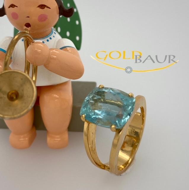 Aquamarin, Ring, Aquamarinring, 750/Gelbgold, Handarbeit