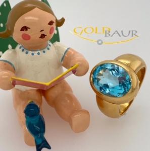 Ring Edeltopas, 750/gelbgold, Handarbeit