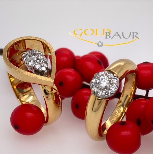 Ring, Brillantring, 750/Gelbgold, Handarbeit