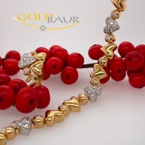 Brillant-Ring, Brillant Armband, Herz, 750/ Gelbgolgd-Weißgold, Handarbeit