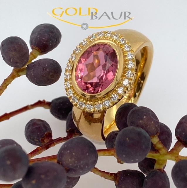 Edelstein, Farbstein, Brillant-Ring, Turmalin, 750/Gelbgold, Handarbeit