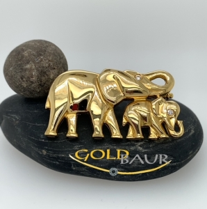 Brosche, Brillant-Brosche, Elefanten-Brosche, Handgefertigt